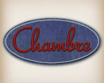 Sticker style Denim Blue and Red 012 room door sign