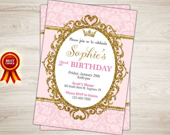 First Birthday Invitation. Pink and Gold 1st Birthday Invitation Girl Princess Birthday Party. Gold Glitter. Printable Digital Invite