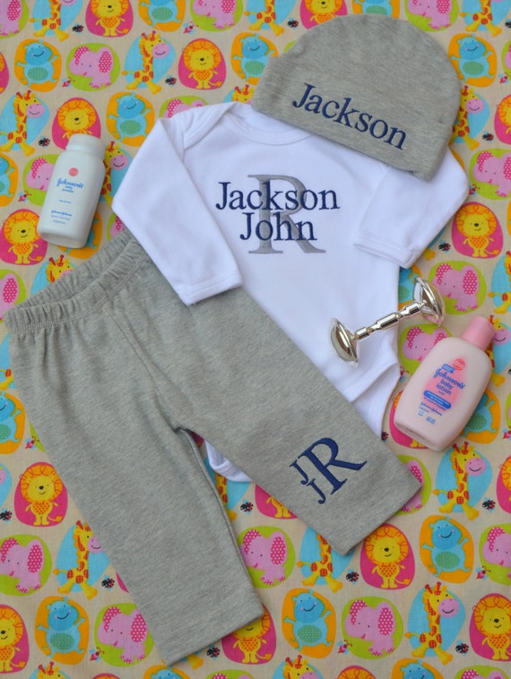 Baby Boy Coming Home Outfit Monogrammed Baby Boy Clothes
