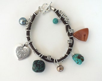 Brown Leather Charm Bracelet with gemstones, pearls and sterling silver rings- BR 104