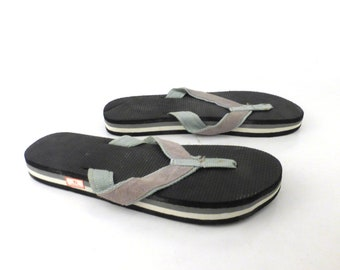 1980s Flip Flops Vintage Sandals Gray Black Stripe Foam 80s Eighties Thick size 10
