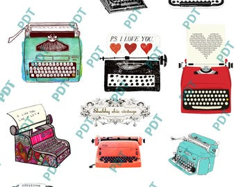 Typewriter stickers