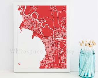 Burlington Map Burlington Art Burlington Map Art Burlington Print Burlington Printable Burlington City Art Vermont Art