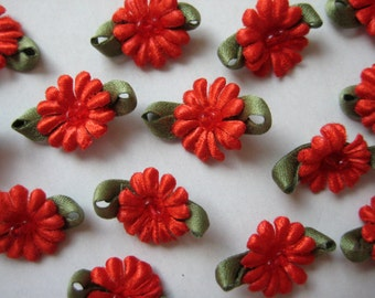 RED Flower with Beads Appliqués for Wedding, Embellishment, Doll Clothes, Crafting, Sewing, Invitation Cards, 0.75 inch, 30 pieces
