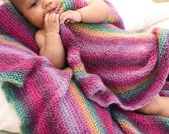 Knitted handmade wool baby blanket / throw in stripes. Can be personalized