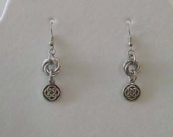 Silver Love Knot Celtic Charm Chainmaille Earrings