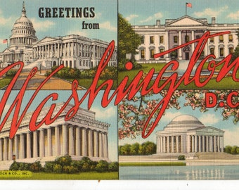 Vintage Postcard, Greetings from Washington, DC, Capitol, Monuments, White House