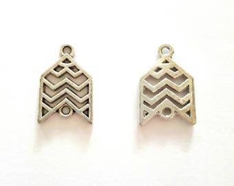 2 pieces antique silver metal arrow connectors charms