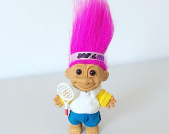 Vintage 90's Russ Troll - Tennis Player - Pink Hair - 1990's - Sports - Headband