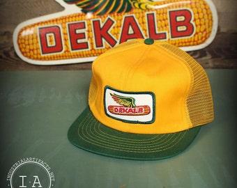 Vintage DeKalb Winged Ear Mesh Snapback Trucker Hat Green Yellow