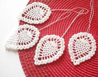 Crochet Christmas ornaments Hanging Christmas decorations White crochet leaves Christmas tree decorations Crochet leaf