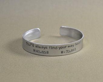 Latitude longitude aluminum bracelet to find your way home