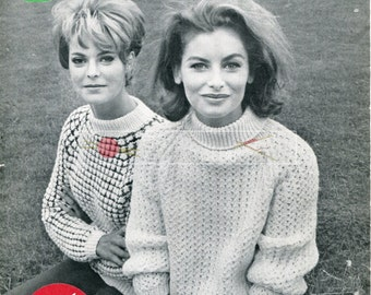 Lady's Turtle Neck Sweater DK 34-38ins Jaeger 3879 Vintage Knitting Pattern PDF instant download