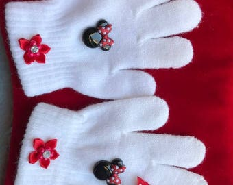 Mini Mouse girls handmade decorated gloves