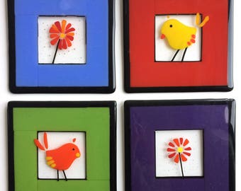 Glass bird/flower tiles (set of 4)
