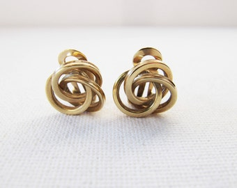 Vintage 9 Carat Gold Knot Clip Earrings, 9K Yellow Gold Clip On Earrings, 375 Gold Knot Earrings, Vintage Gold Jewellery Gifts for Her