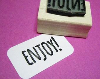Enjoy! Sentiment Text Rubber Stamp - Enjoy Stamper - Stamp for Gift Tags - Message Rubber Stamp - Gift Stamp - Skinny Font