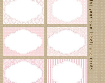 Print your own Labels\/Cards for journaling, scrapbooking, gift giving, mailing -Damask, dots all in Baby Pink