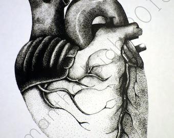 Human Heart Pointillism Print