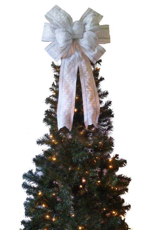 Large White Christmas Bow Decoration Christmas Tree