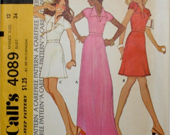 McCall's 4089 Misses' Dress Sewing Pattern Size 12