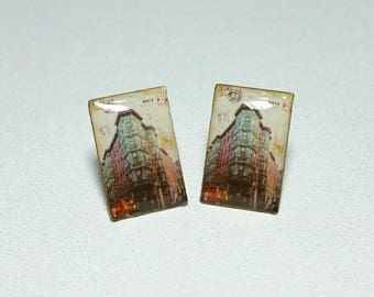 Faux vintage miniature postcard stud earrings/resin/handmade/free shipping