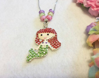 Rhinestone Mermaid Necklaces Party Favors