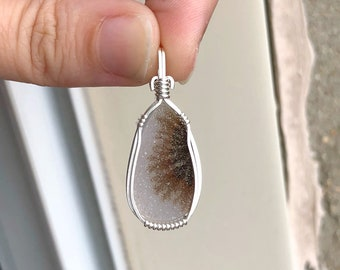 Dendritic agate drusy pendant, Wire wrapped pendant, Sterling silver, Natural drusy jewelry, Druzy pendant, Drusy necklace, Drusy necklace
