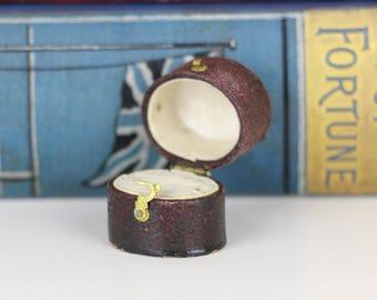 Antique Ring Box Engagement or Wedding Ring Box - Deep Red / Burgundy