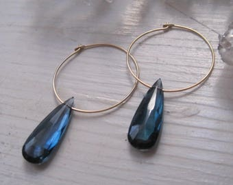 Gold filled hoops with London Blue Almond Shape Drops