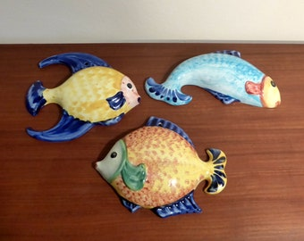 Set of three vintage Anfora ceramic flying fish, made in Portugal