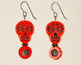 SALE! Halloween Earrings Red Sugar Skull with Flower Earrings Dia de los Muertos