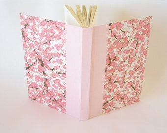 Blank book journal  unlined - 6x8.5in 15x22cm - pink plum chiyogami - Ready to ship