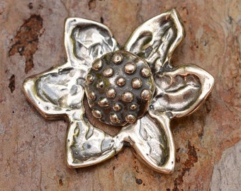 Rustic Sunflower Sterling Silver Button Clasp