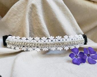 Small Rhinestone Lace Dog Collar; Unique Dog Collars; Small Breed Dog Collar; Wedding Dog Collar; Beaded Dog Collar; Flower Dog Collar