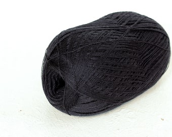 Merino yarn, Cobweb weight dark grey color wool yarn - haapsalu shawl yarn