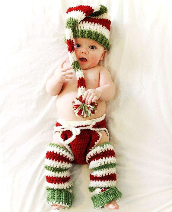 Christmas Diaper Cover and Hat Baby Girl Boy Newborn Toddler, Christmas Baby Legwarmers Leggings, Long Tail Elf Hat, Bloomers, Santa, Props