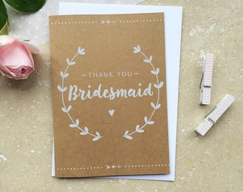 Rustic Bridesmaid Thank You Card