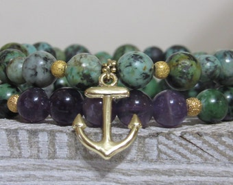 Anchor Double Stack Bracelets (African Turquoise and Amethyst)