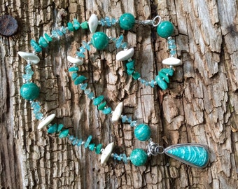 CARIBBEAN SOUL Necklace (Amazonite, Apatite, Magnesite, Sterling Silver)