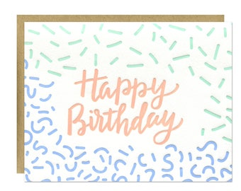 Sprinkles Birthday Card / Letterpress Printed with Mint, Bluebell, and Peach Inks / Blank Inside