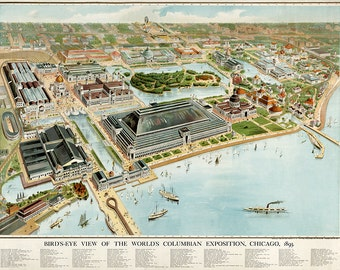 Chicago World's Columbian Exposition 1893, the 400th anniversary of discovery America by Columbus.  Vintage Reproduction print.