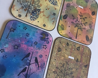 Small tuck-it pocket - tree theme set of 4 - for art journal, travel journal, junk journal, smash journal, planner, mixed media, collage