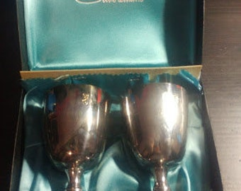 2 Gorgeous Silver Plate Goblets - Burke & Wallace Silversmiths - Original Packaging - Vintage
