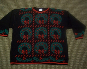Ugly Christmas Sweater Vintage Holiday Time Size 22W 24 W True to Size Please view my Others Ship Priority mail same day shipping