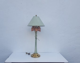 vintage brass hollywood regency table lamp shiny gold