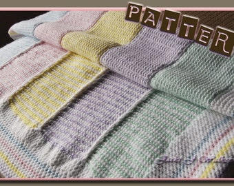 The Reversible Tunisian Stripe Baby Afghan Crochet PDF Pattern