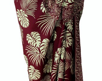 Hawaiian Beach Sarong Skirt - Men's or Women's Batik Sarong - Burgundy & Tan Jungle Leaf Batik Pareo Swimsuit Cover Up Lavalava Beach Wrap