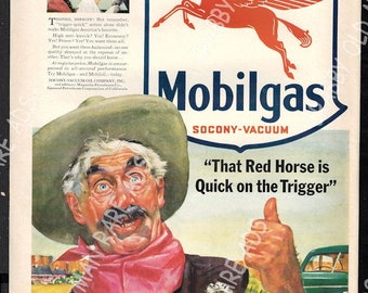 1941 Life Print Ad - Socony-Vacuum Oil Company, Mobilgas, That Red Horse Is Quick On The Trigger, _ Pan American Airways