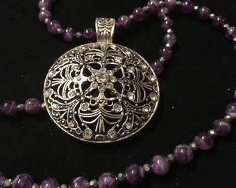 Amethyst Beaded  Necklace and Bracelet Set